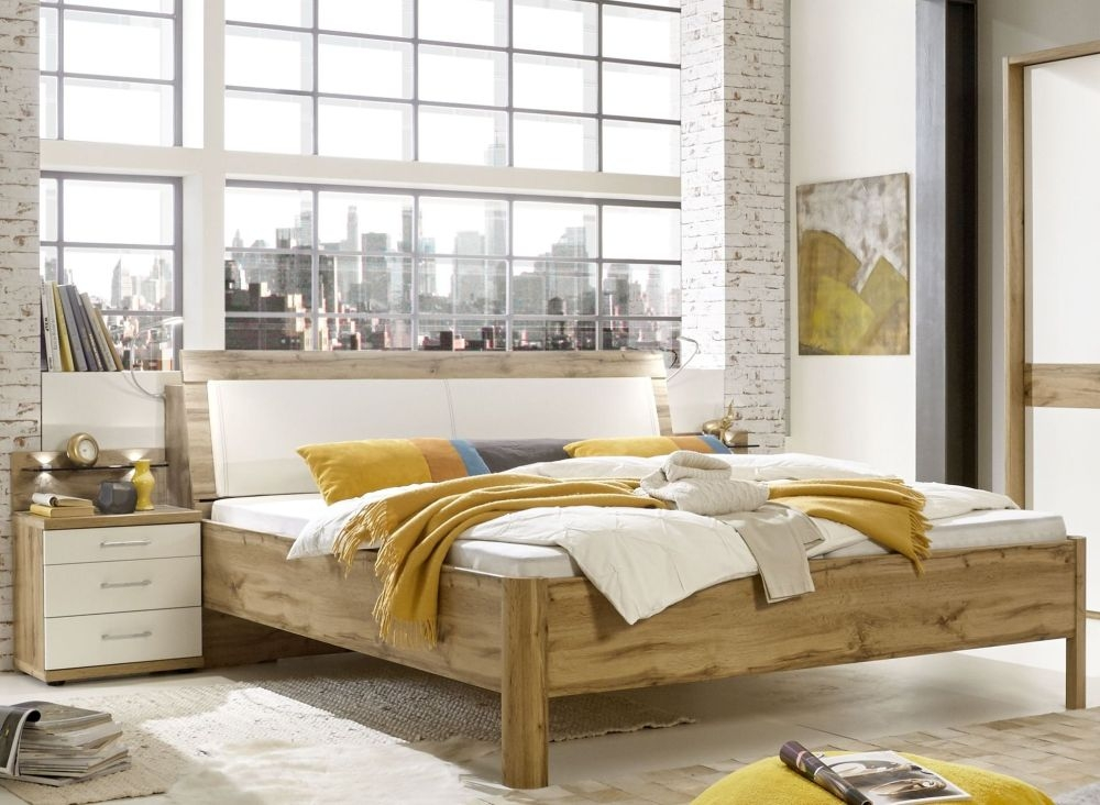 Wiemann Padua 6ft Queen Size Leather Cushion Bed in Oak and White - 180cm X 200cm