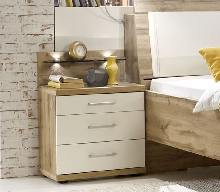 Wiemann Padua 3 Drawer Bedside Cabinet in Oak and White