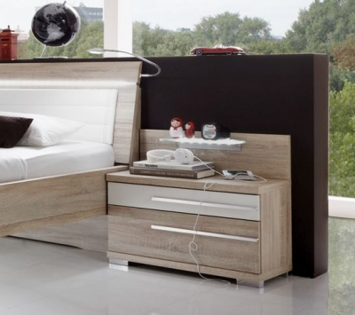 Wiemann Pasadena 2 Drawer Bedside Cabinet in Oak and White