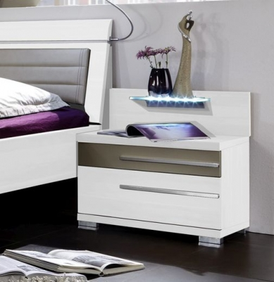 Wiemann Pasadena 2 Drawer Bedside Cabinet in White and Sahara