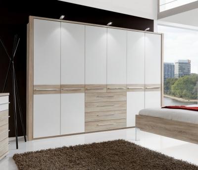 Wiemann Pasadena 4 Door 4 Drawer Wardrobe in Oak and White - W 200cm