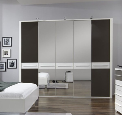Wiemann Pasadena 5 Door 1 Mirror Wardrobe in White and Havana - W 250cm