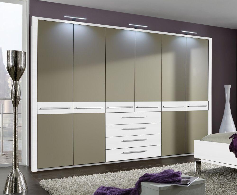 Wiemann Pasadena 5 Door 4 Drawer Wardrobe in White and Sahara - W 250cm