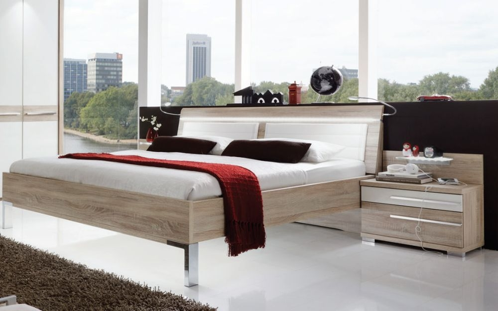 Wiemann Pasadena 5ft King Size LED Light Leather Cushion Bed in Oak and White - 150cm x 200cm