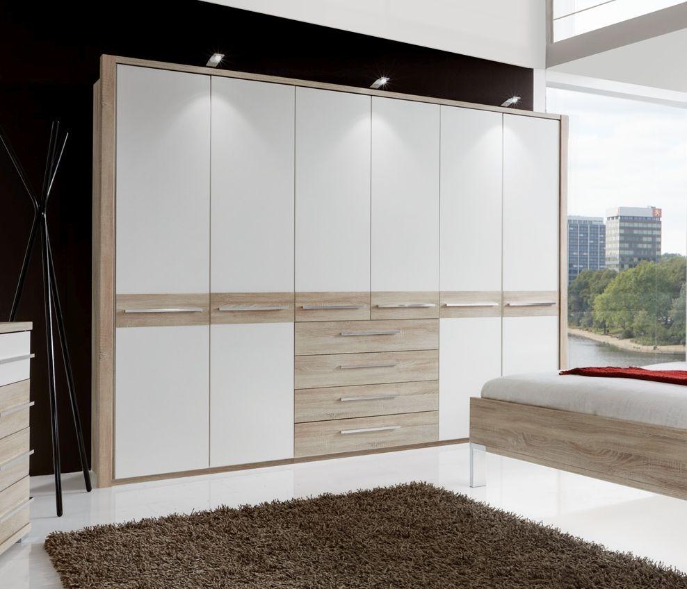 Wiemann Pasadena 6 Door 4 Drawer Wardrobe in Oak and White - W 300cm