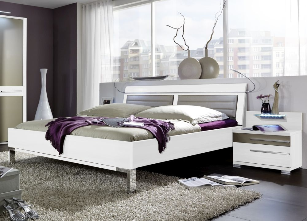 Wiemann Pasadena 6ft Queen Size LED Light Leather Cushion Bed in White and Sahara - 180cm x 200cm