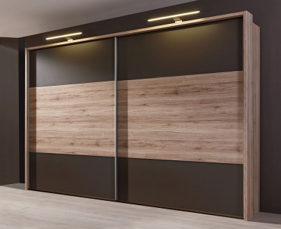 Wiemann Portland 2 Door Sliding Wardrobe in Oak and Havana - W 300cm