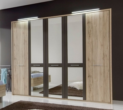 Wiemann Portland 5 Door Mirror Wardrobe in Oak and Havana - W 250cm