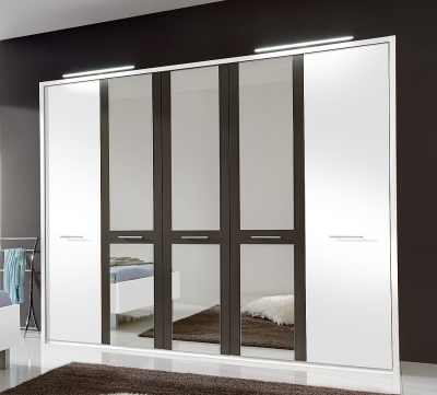 Wiemann Portland 5 Door Mirror Wardrobe in White and Havana - W 250cm