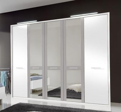 Wiemann Portland 5 Door Mirror Wardrobe in White and Pebble Grey - W 250cm