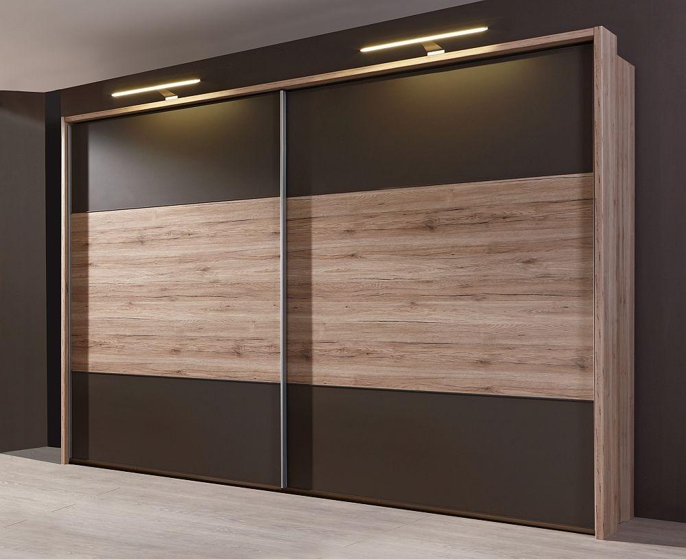 Wiemann Portland 2 Door Sliding Wardrobe in Oak and Havana - W 300cm