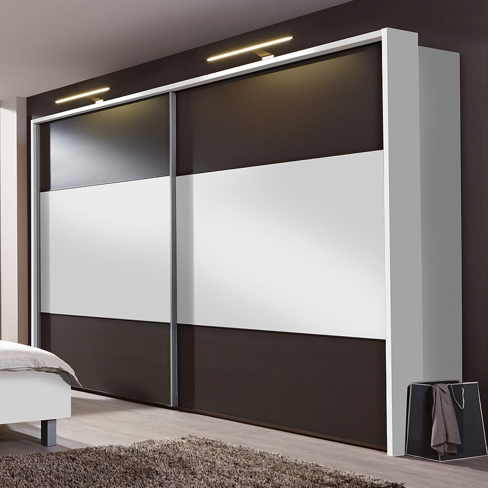 Wiemann Portland 2 Door Sliding Wardrobe in White and Havana - W 300cm