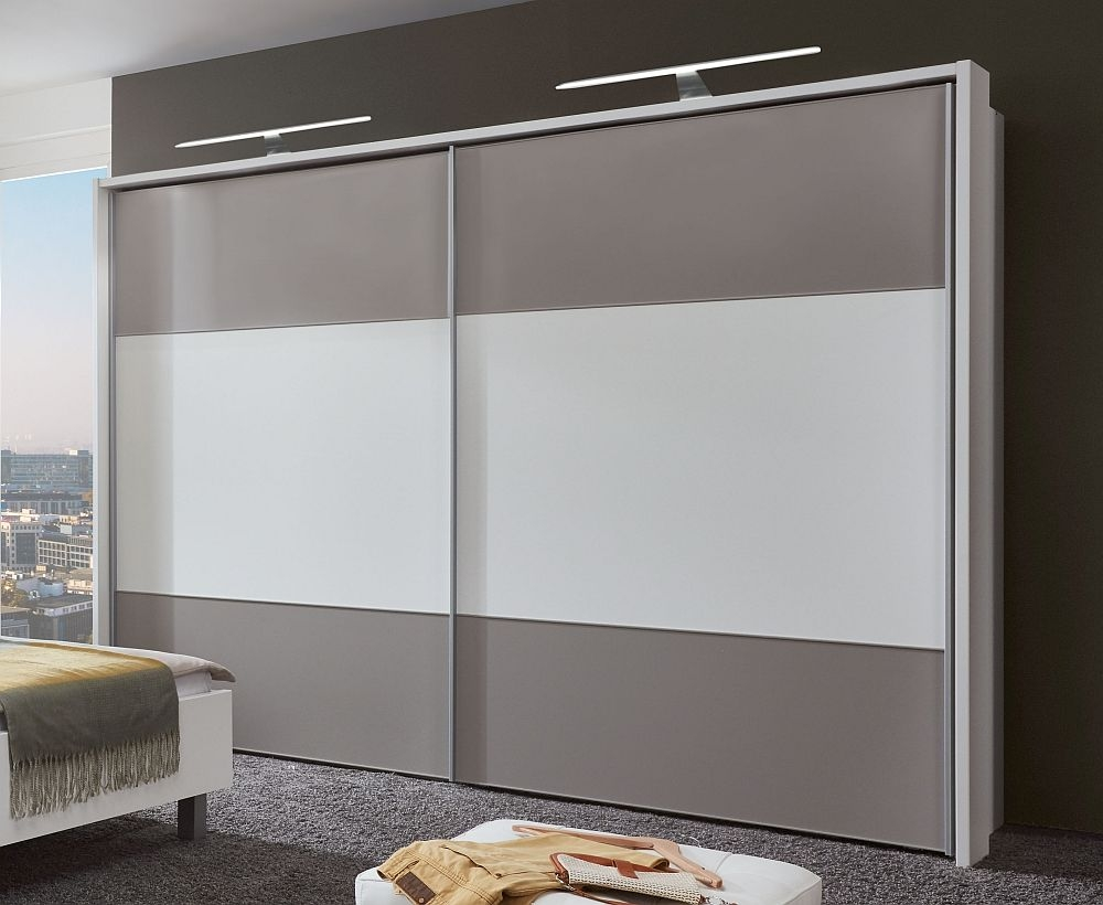 Wiemann Portland 2 Door Sliding Wardrobe in White and Pebble Grey - W 300cm
