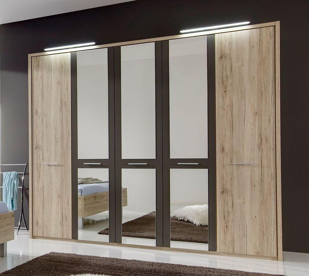 Wiemann Portland 5 Door Mirror Wardrobe in Oak and Havana - W 250cm