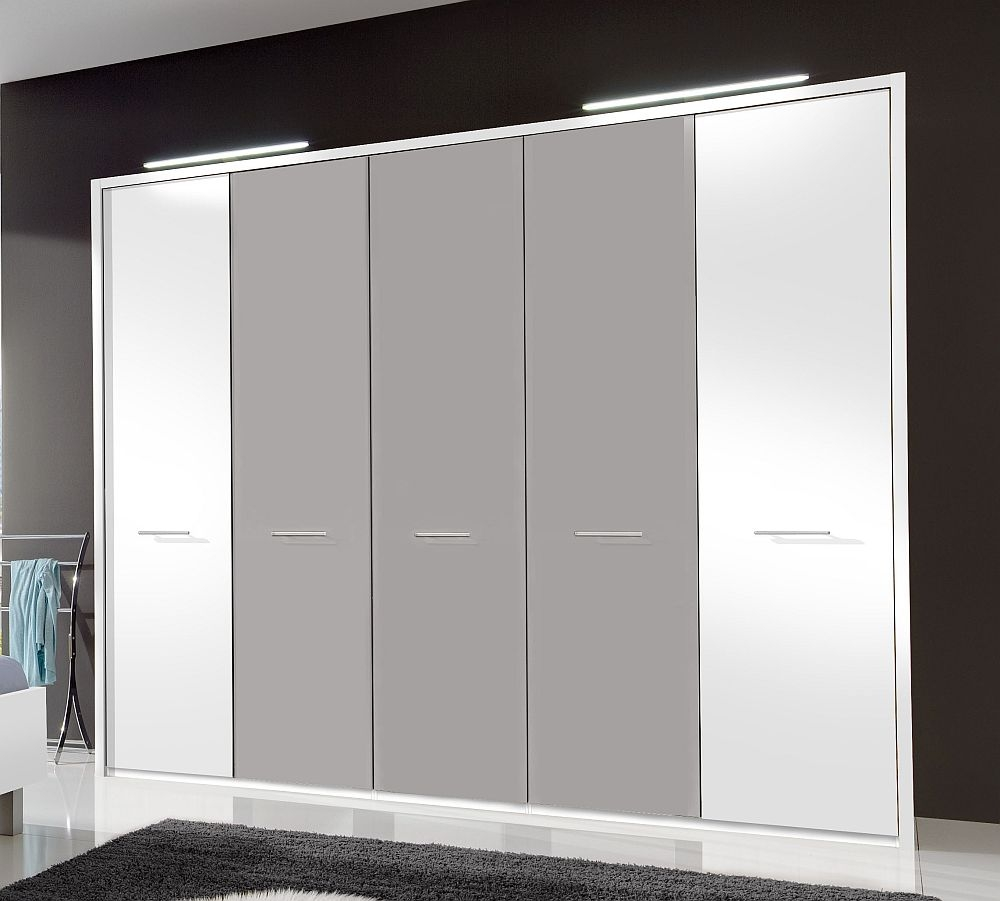 Wiemann Portland 5 Door Wardrobe in White and Pebble Grey - W 250cm