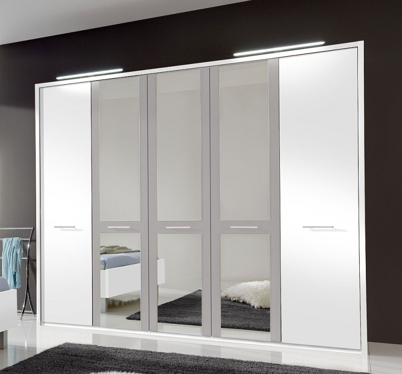 Wiemann Portland 5 Door Mirror Wardrobe in White and Pebble Grey - W 250cm