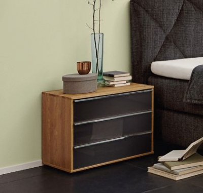 Wiemann Savona 5 Drawer Chest in Oak and Graphite Glass - W 80cm