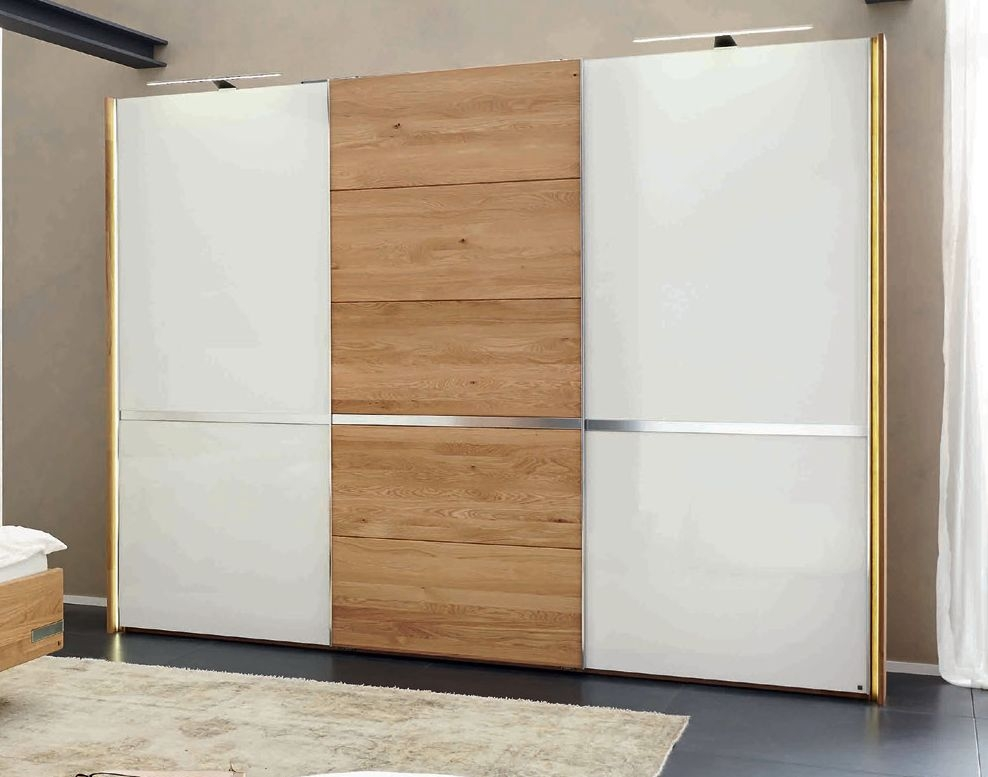 Wiemann Savona 3 Door 2 Glass Chrome Inlays Sliding Wardrobe in Oak and White - W 300cm