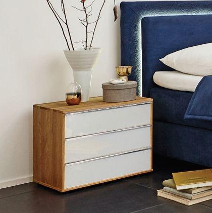 Wiemann Savona 3 Drawer Bedside Cabinet in Oak and White Glass