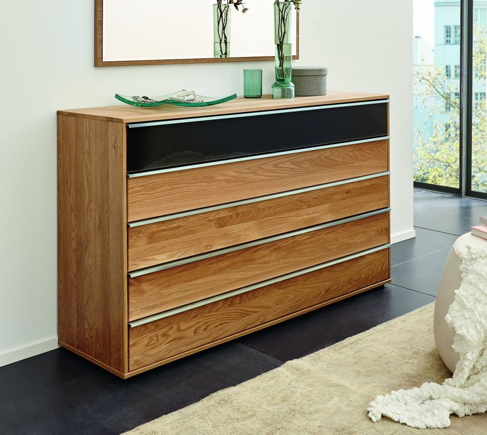 Wiemann Savona 5 Drawer Chest in Oak with Graphite Glass Top - W 60cm