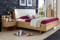 Wiemann Serena 5ft King Size Faux Leather Bed in Oak and Magnolia - 160cm x 200cm