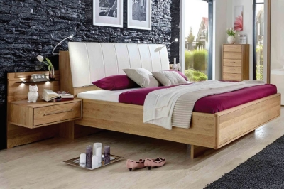 Wiemann Serena 5ft King Size Faux Leather Bed in Oak and Magnolia - 150cm x 200cm