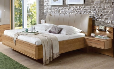Wiemann Serena 5ft King Size Faux Leather Bed with Bedding Box in Oak and Sahara - 160cm x 200cm