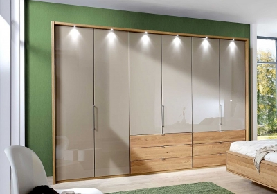 Wiemann Serena 6 Door 6 Right Drawer Bi Fold Wardrobe in Oak and Champagne Glass - W 250cm
