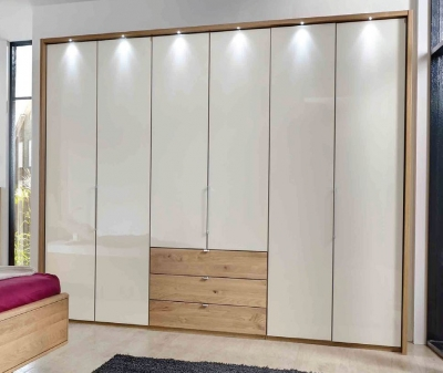 Wiemann Serena 6 Glass Door 6 Drawer Bi Fold Panorama Wardrobe in Oak and Magnolia - W 300cm