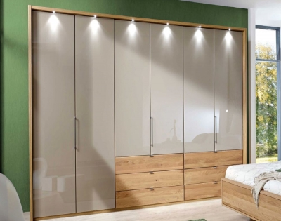 Wiemann Serena 6 Glass Door 9 Drawer Bi Fold Panorama Wardrobe in Oak and Sahara - W 300cm