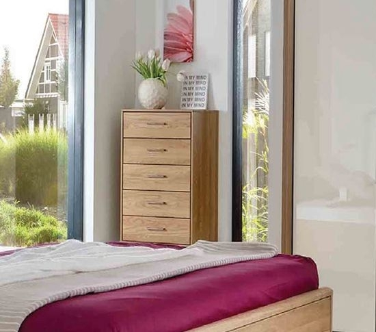 Wiemann Serena 1 Door 5 Drawer Combi Chest in Oak