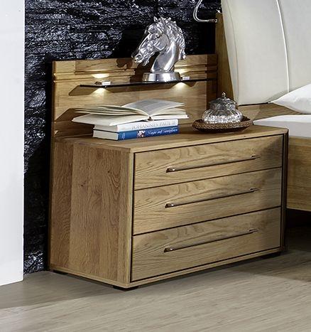 Wiemann Serena 3 Drawer Bedside Cabinet in Oak - W 40cm x H 48cm