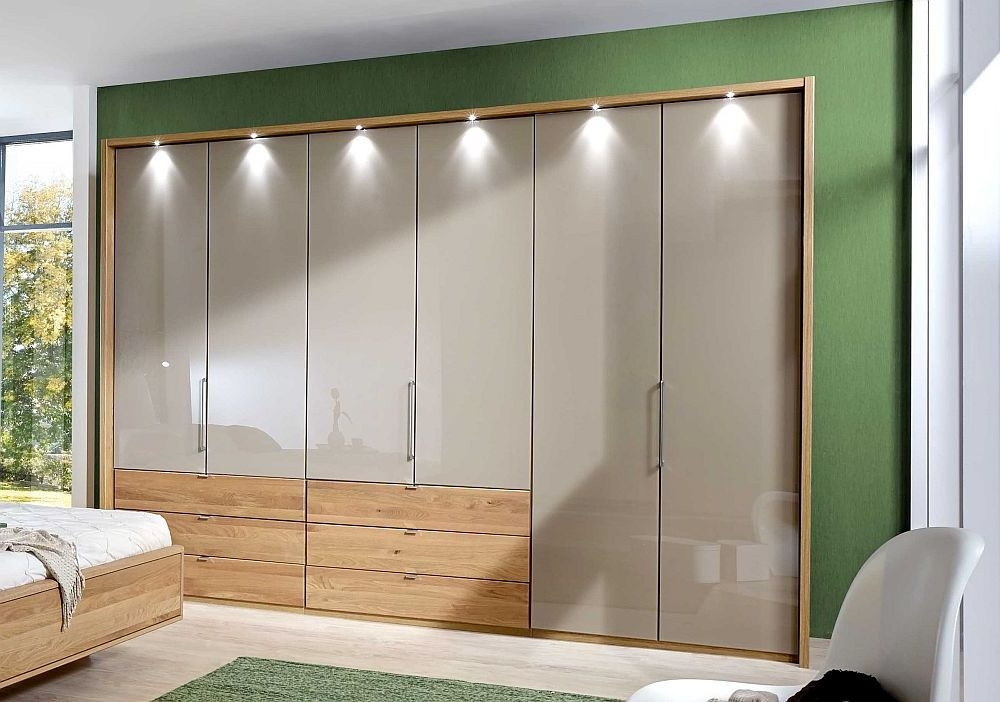 Wiemann Serena 6 Door 6 Left Drawer Bi Fold Wardrobe in Oak and Champagne Glass - W 250cm