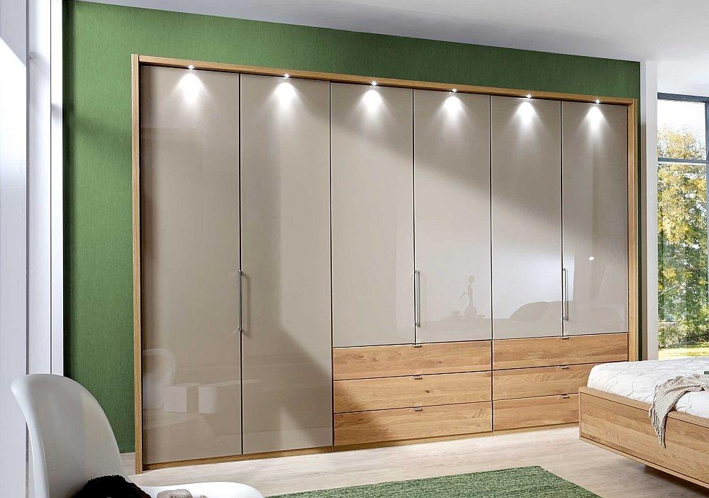 Wiemann Serena 6 Door 6 Right Drawer Bi Fold Wardrobe in Oak and Champagne Glass - W 250cm