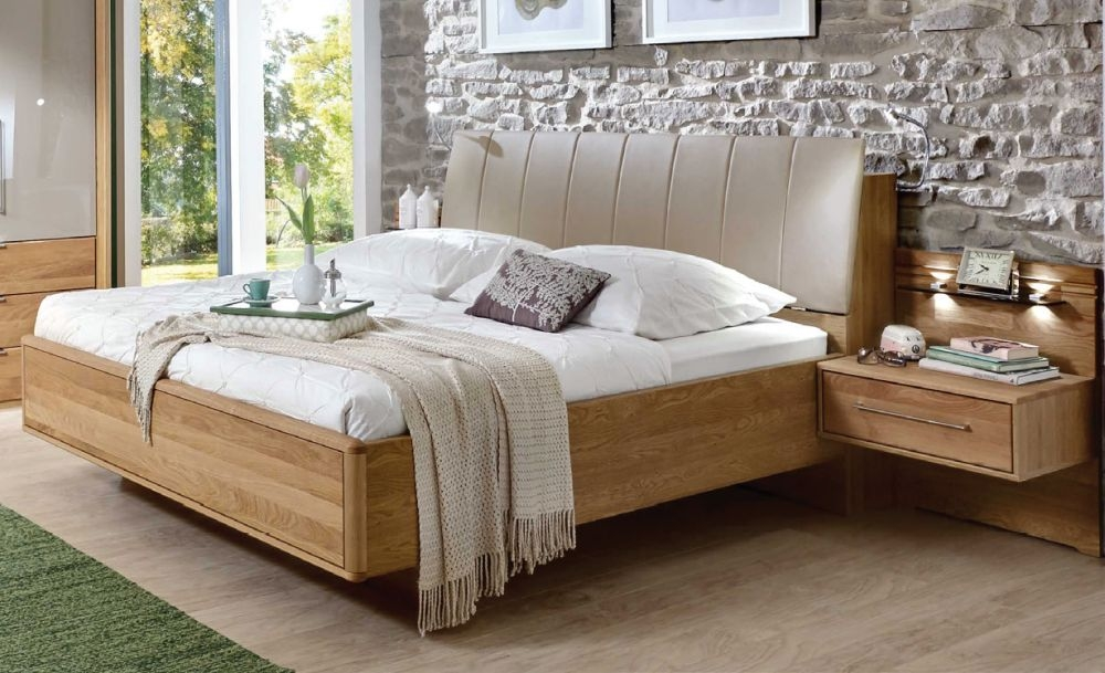 Wiemann Serena 6ft Queen Size Faux Leather Bed with Bedding Box in Oak and Sahara - 180cm x 200cm