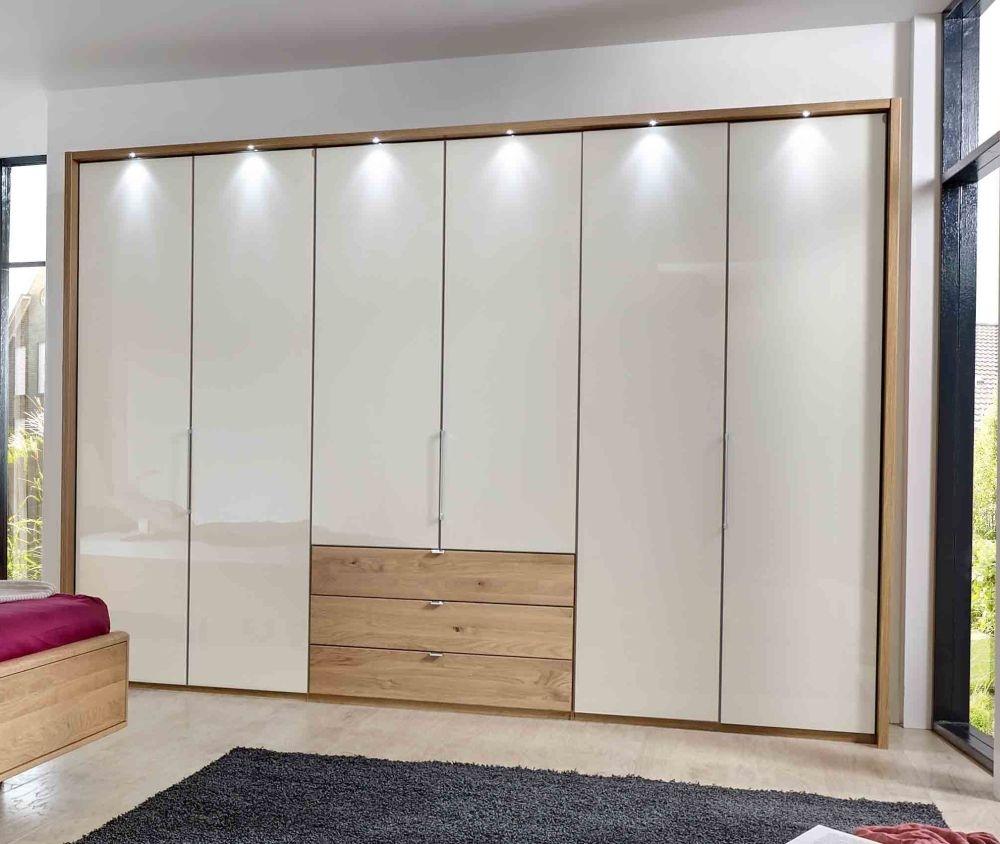 Wiemann Serena Bi-Fold Panorama Door Wardrobe with Magnolia Glass