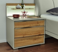 Wiemann Sita 3 Drawer Bedside Cabinet in Champagne and Oak - W 60cm