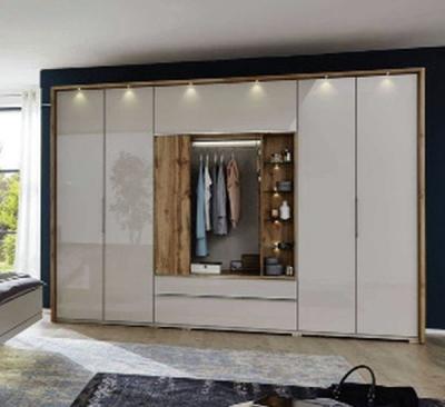 Wiemann Sita 4 Door 1 Drawer Bi Fold Panorama Functional Wardrobe in Champagne and Oak - W 300cm