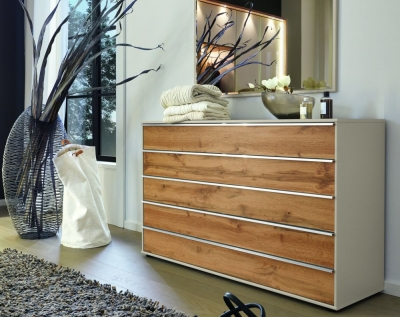 Wiemann Sita 5 Drawer Large Chest in Champagne and Oak