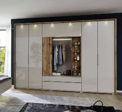 Wiemann Sita 6 Door 1 Drawer Bi Fold Panorama Functional Wardrobe in Champagne and Oak - W 400cm