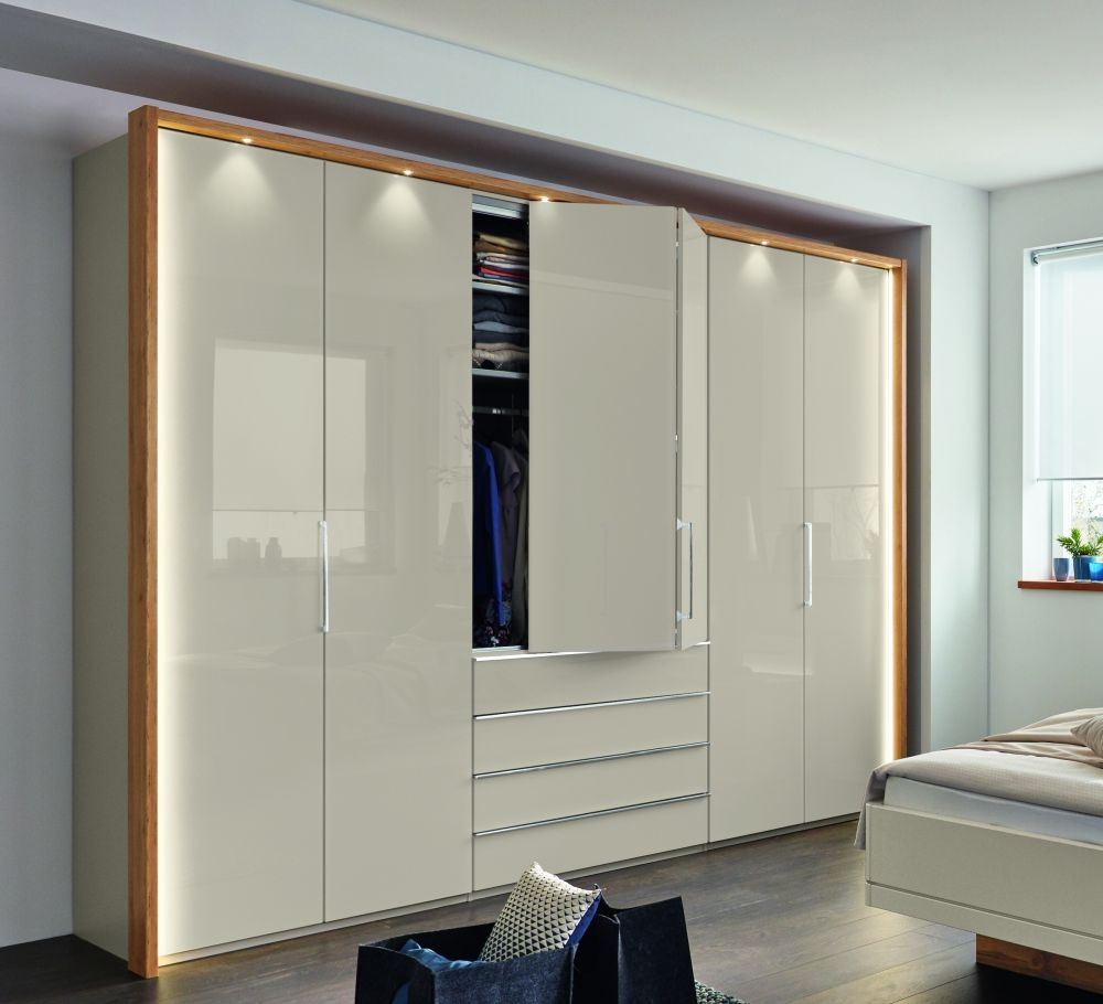 Wiemann Sita 4 Door 3 Drawer Bi Fold Panorama Wardrobe in Champagne and Oak - W 200cm