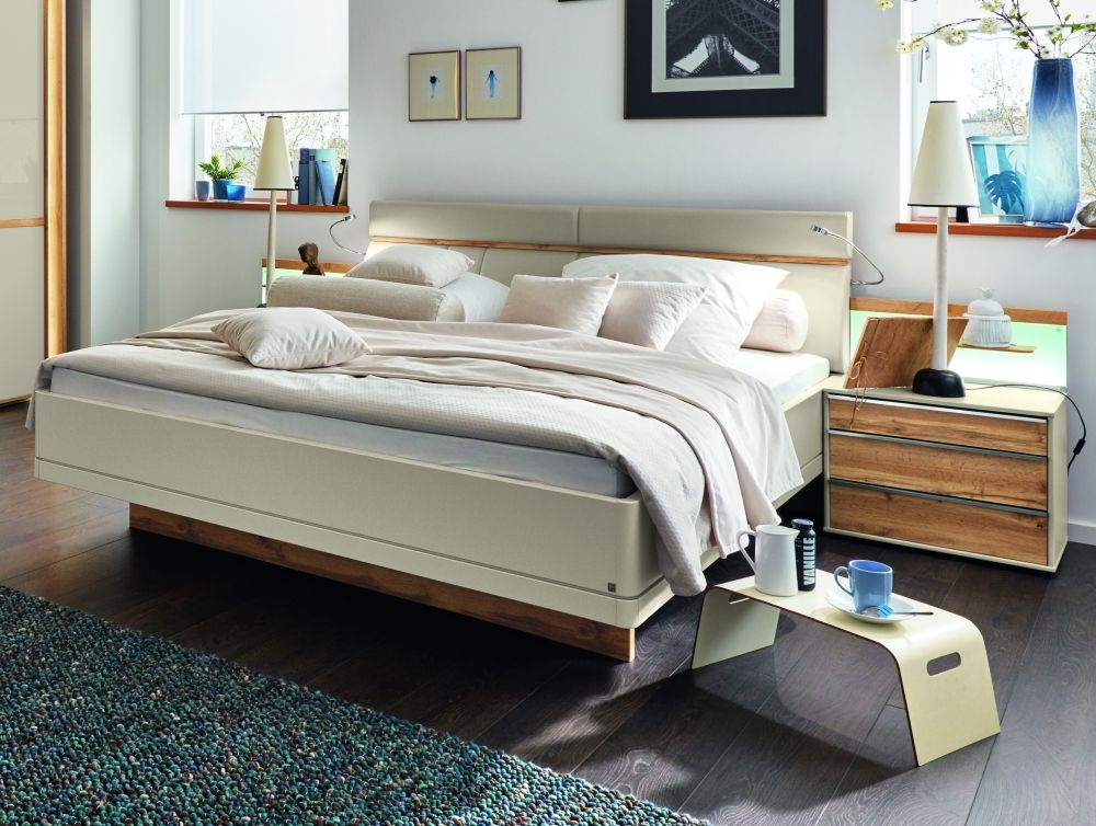 Wiemann Sita 6ft Queen Size Faux Leather Cushion Bed in Champagne and Oak - 180cm x 200cm