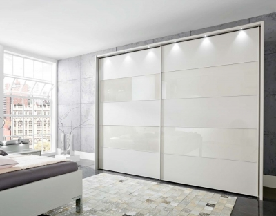 Wiemann Sunset 2 Door Sliding Wardrobe with LED Passepartout in Champagne Glass Line 2 - 4 and White - W 300cm