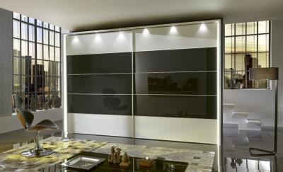 Wiemann Sunset 2 Door Sliding Wardrobe with LED Passepartout in Graphite Glass Line 2 - 3 - 4 and White - W 250cm