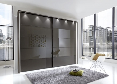 Wiemann Sunset 2 Door Sliding Wardrobe with LED Passepartout in Havana Glass Line 2 - 3 - 4 and Havana - W 200cm