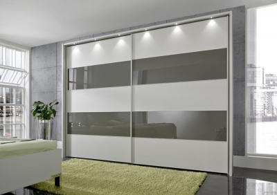 Wiemann Sunset 2 Door Sliding Wardrobe with LED Passepartout in Havana Glass Line 2 - 4 and Champagne - W 200cm