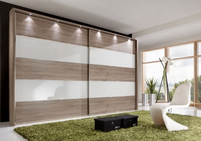 Wiemann Sunset 2 Door Sliding Wardrobe with LED Passepartout in White Glass Line 2 - 4 and Rustic Oak - W 300cm
