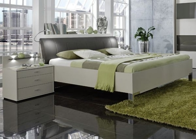 Wiemann Sunset 6ft Queen Size Leather Cushion 48cm Footboard Height Bed in Champagne and Havana - 180cm x 200cm