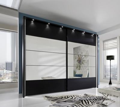 Wiemann Sunset Black Sliding Wardrobe with Line 2-3-4 in Mirror - W 300cm