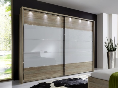 Wiemann Sunset Oak Sliding Wardrobe with Line 2-3-4 in White Glass - W 300cm